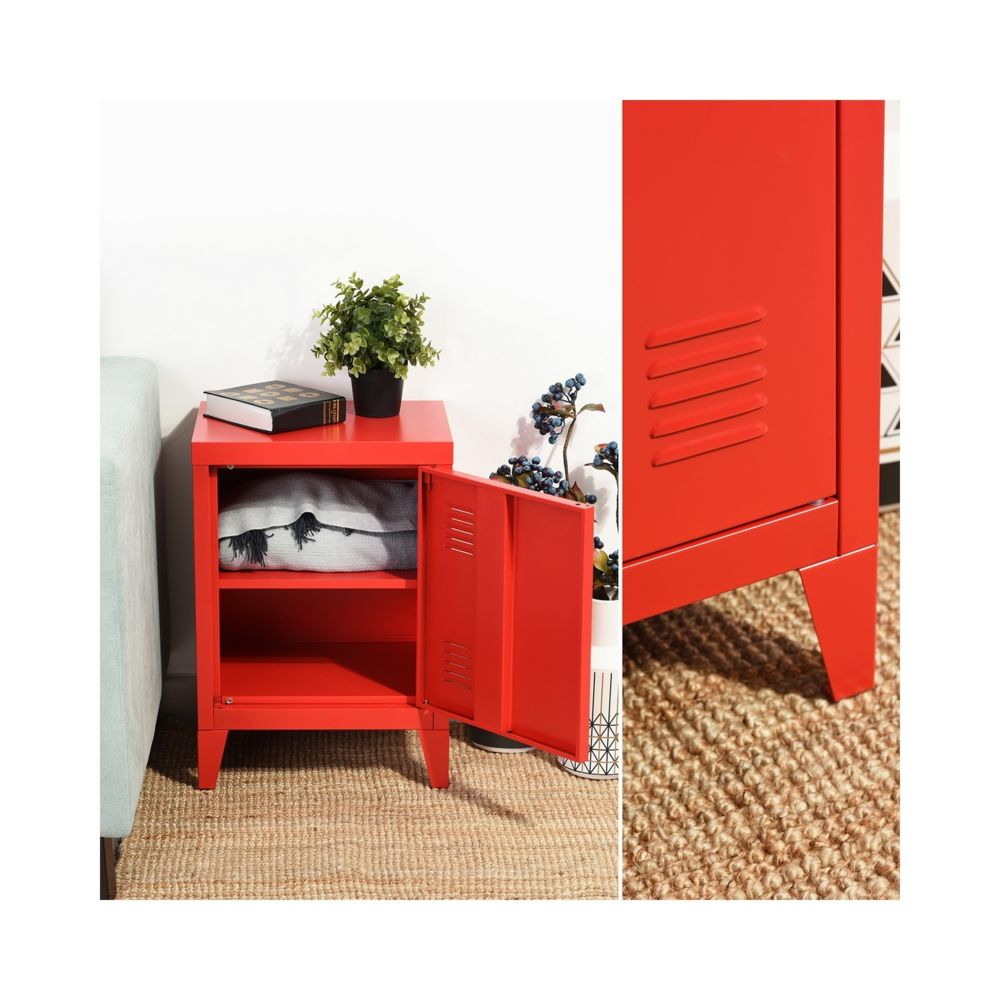 Capsull Design Meuble Bas Casier Metal Vintage Rouge Armoire Rue Du Commerce