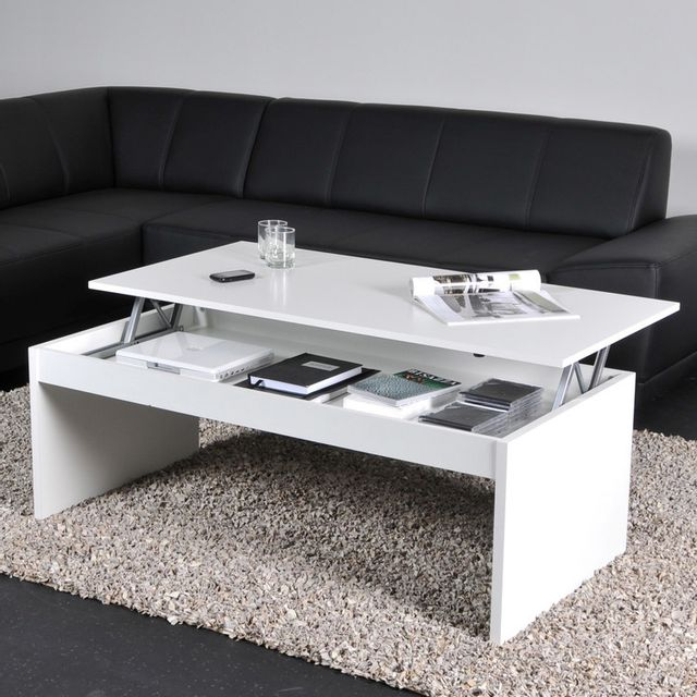 Weber Table Basse Relevable Rectangulaire En Bois Blanc - Table Basse Relevable Pas Chere