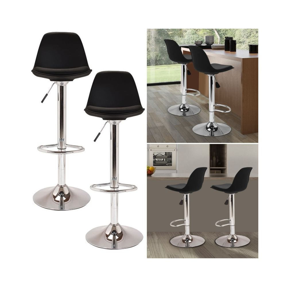 Idmarket Lot De 2 Tabourets De Bar Karl Design Noir Tabourets Rue Du Commerce