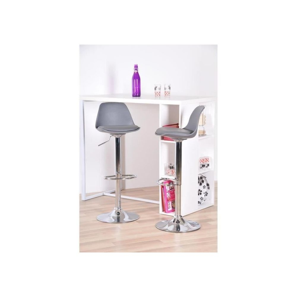 Marque Generique Tabouret De Bar Neo Lot De 2 Tabourets De Bar Simili Gris Contemporain L 38 X P 42 5 Cm Tabourets Rue Du Commerce