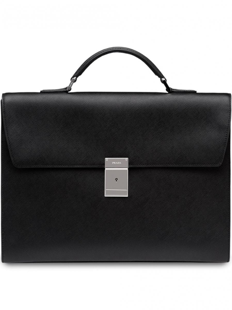 Porte Document Cuir Homme Homme Sac Ordinateur Porte Documents Prada Mallette En Cuir À Anses Arrondies Noir Rufed Upca