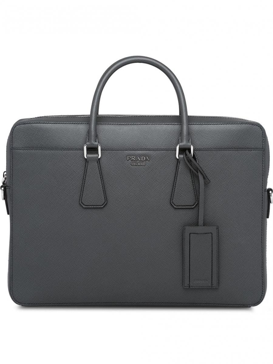 Porte Document Cuir Homme Homme Sac Ordinateur Porte Documents Prada Mallette En Cuir Saffiano Gris Rufed Upca