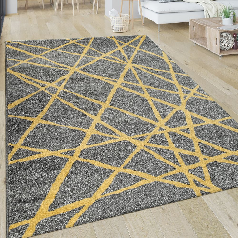 Short Pile Rug Lines Yellow Grey Rug24