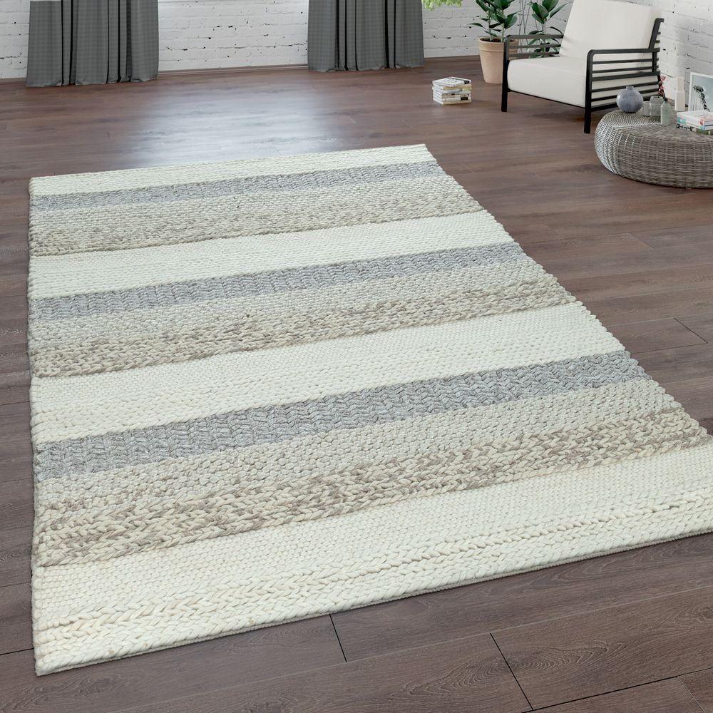 Teppich Wolle Natur Hand-woven Natural Rug Striped Pattern Grey | Rug24