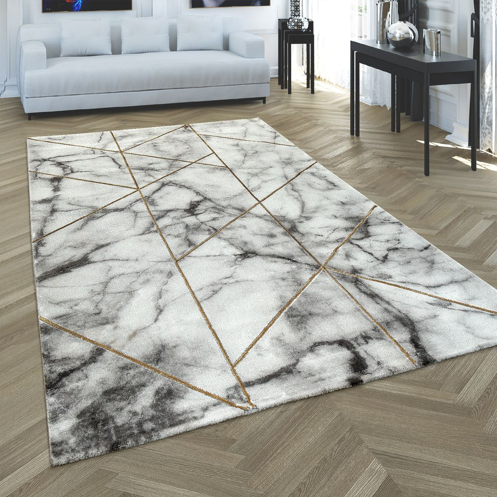 Foto Teppich Carpet 3-d Pattern Marble Look Grey Silver | Rug24