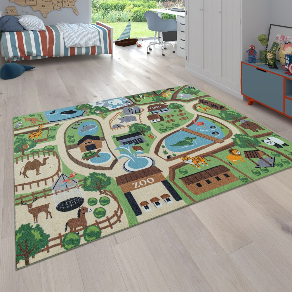 Kinder Spiel Teppich Play Rug Zoo Motif Children's Room Colourful | Rug24