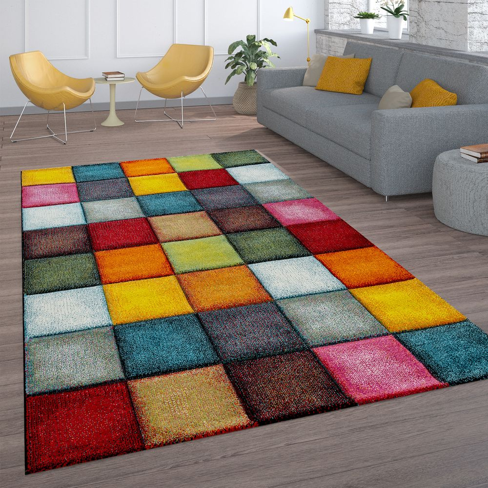 Short Pile Rug Check Design Colourful Rug24