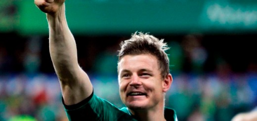 Ireland captain Brian O'Driscoll gives a thumbs up after winning their Rugby World Cup Pool C match against Italy at Otago Stadium in Dunedin