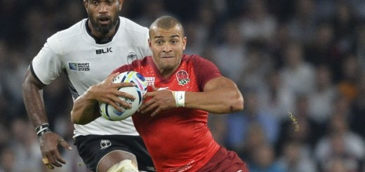 England's centre Jonathan Joseph runs with the ball  during a Pool A match of the 2015 Rugby World Cup between England and Fiji at Twickenham stadium in south west London on September 18, 2015. AFP PHOTO / GLYN KIRK  RESTRICTED TO EDITORIAL USE, NO USE IN LIVE MATCH TRACKING SERVICES, TO BE USED AS NON-SEQUENTIAL STILLSGLYN KIRK/AFP/Getty Images