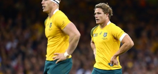 Mandatory Credit: Photo by Matthew Impey/REX Shutterstock (5158226al)  Australia play two natural number 7s (openside flankers) David Pocock (left) and Michael Hooper.  Australia v Fiji, Rugby World Cup, Rugby Union, Millennium Stadium, Cardiff, Britain - 23/09/2015