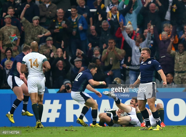 during the 2015 Rugby World Cup Pool B match between South Africa and Scotland at St James' Park on October 3, 2015 in Newcastle upon Tyne, United Kingdom.