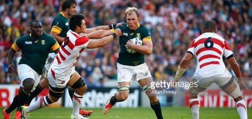 during the 2015 Rugby World Cup Pool B match between South Africa and Japan at the Brighton Community Stadium on September 19, 2015 in Brighton, United Kingdom.