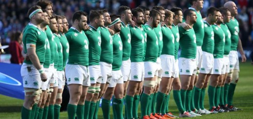 Ireland players line up for the anthems