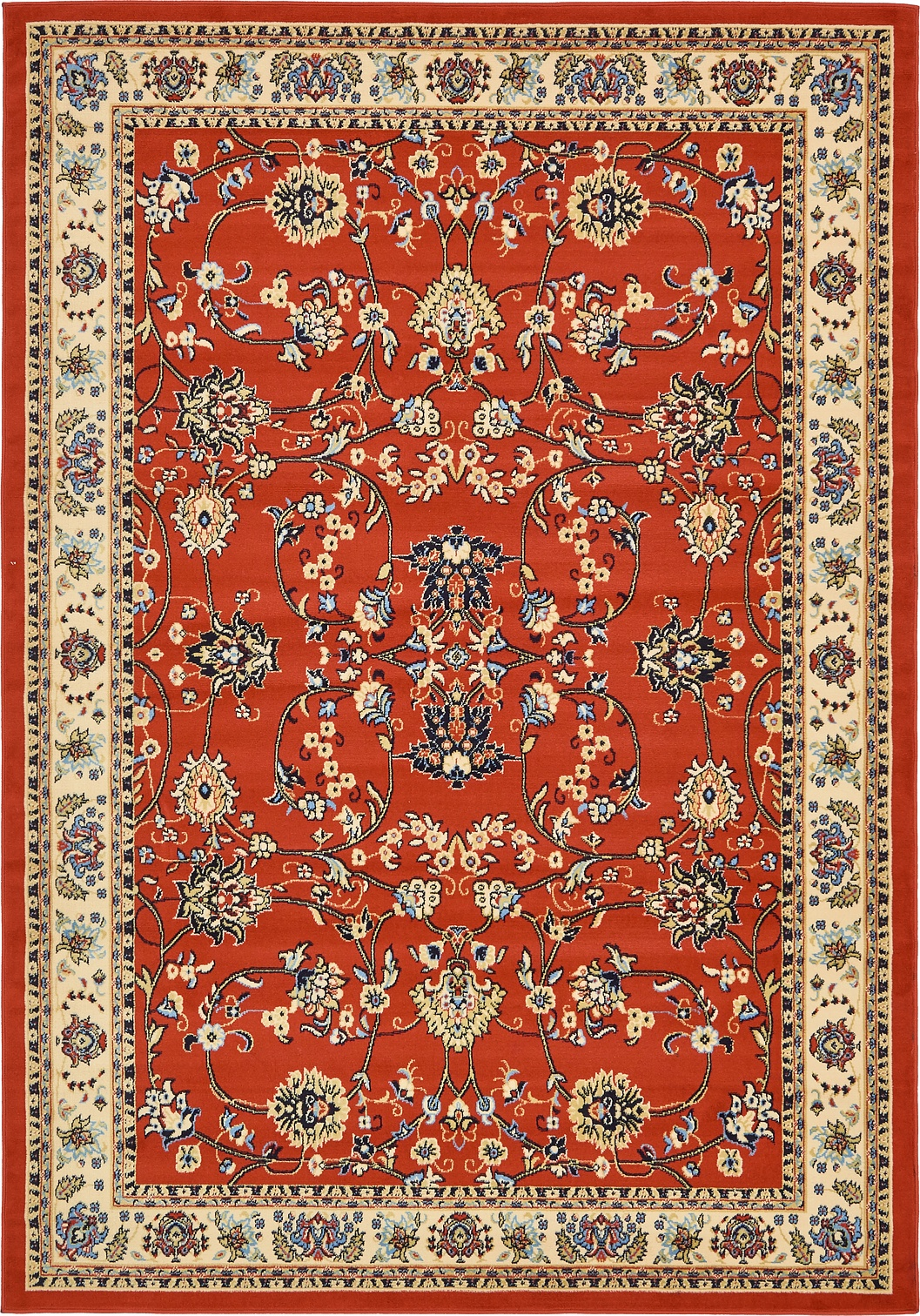 Red Oriental Rug Traditional Persian Design Area Rug Oriental Style Floral