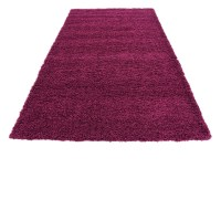 Purple Shaggy Contemporary Rug Soft Warm Modern Plain ...