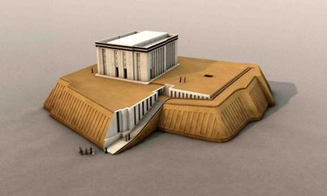 """3D-Rekonstruktion des """"Weißen Tempels"""", der auf einer 12 m hohen Terrasse steht. Uruk-Zeit, um 3450 v. Chr. © artefacts-berlin.de; wissenschaftliches Material: Deutsches Archäologisches Institut"""