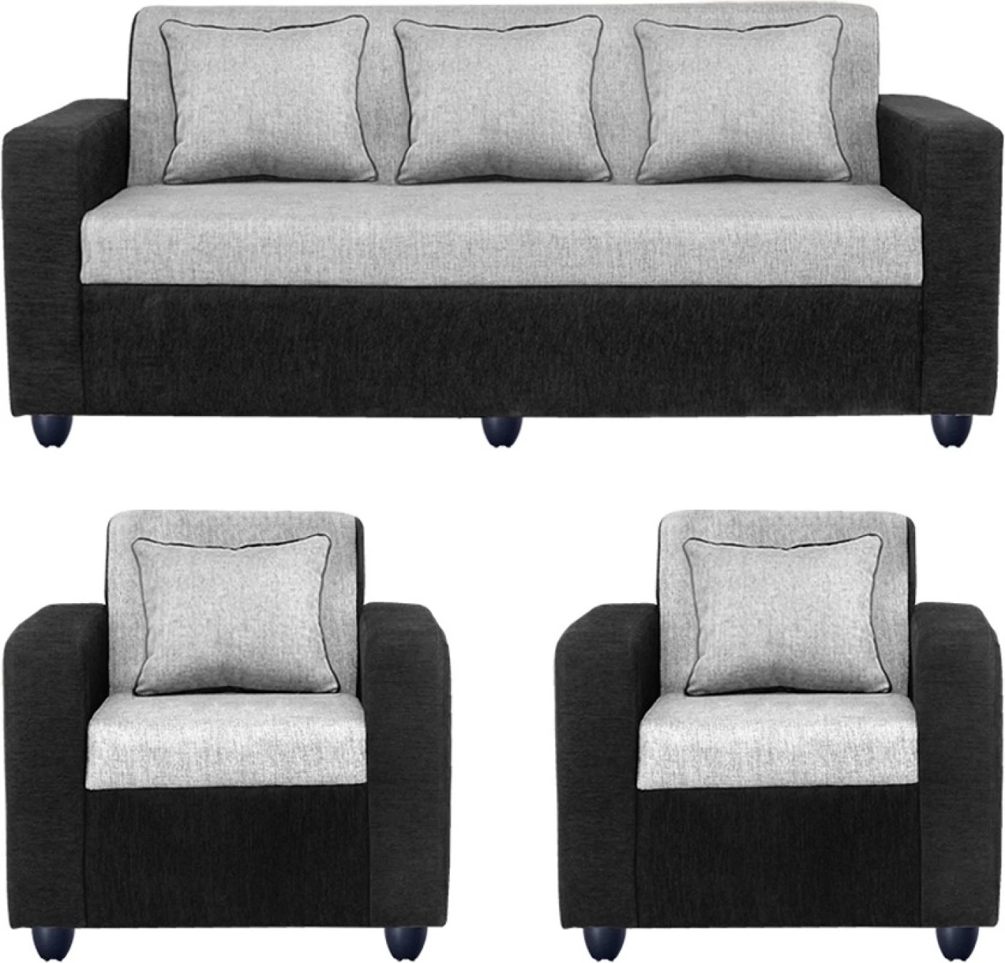 R K Sofa Set Rajkot Gujarat Bharat Lifestyle Tulip Fabric 3 43 1 43 1 Black Sofa Set