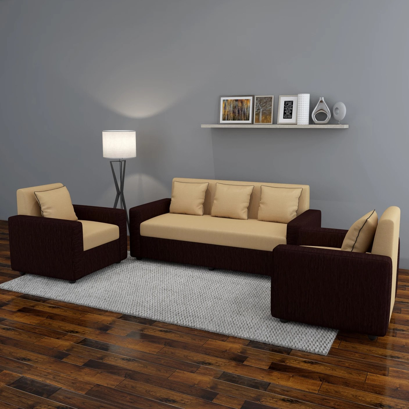 Sofa Set Price In Jagdalpur Bharat Lifestyle Tulip311 Fabric 3 43 1 43 1 Brown Sofa Set