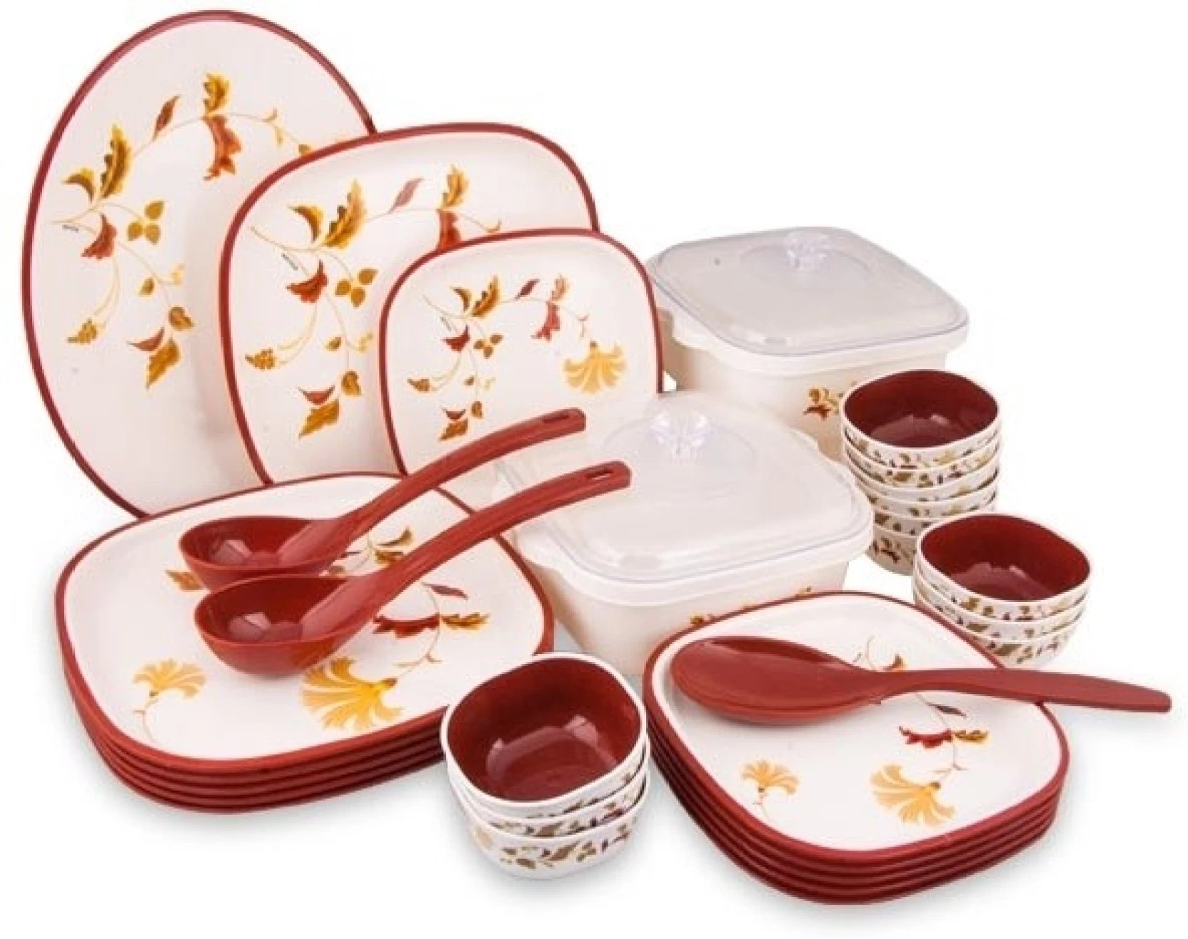 Dinner Set Nayasa Square Rust Pack Of 32 Dinner Set Price In India
