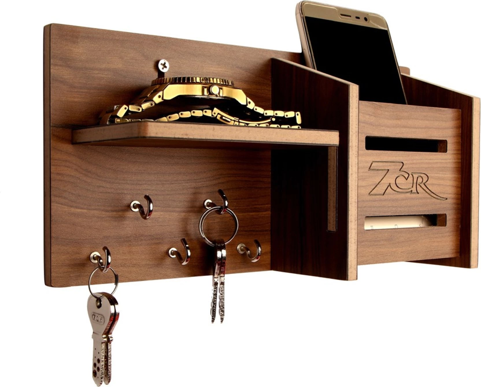 Wooden Key Holder With Shelf 7cr 5050 Wooden Wall Shelf Price In India Buy 7cr 5050