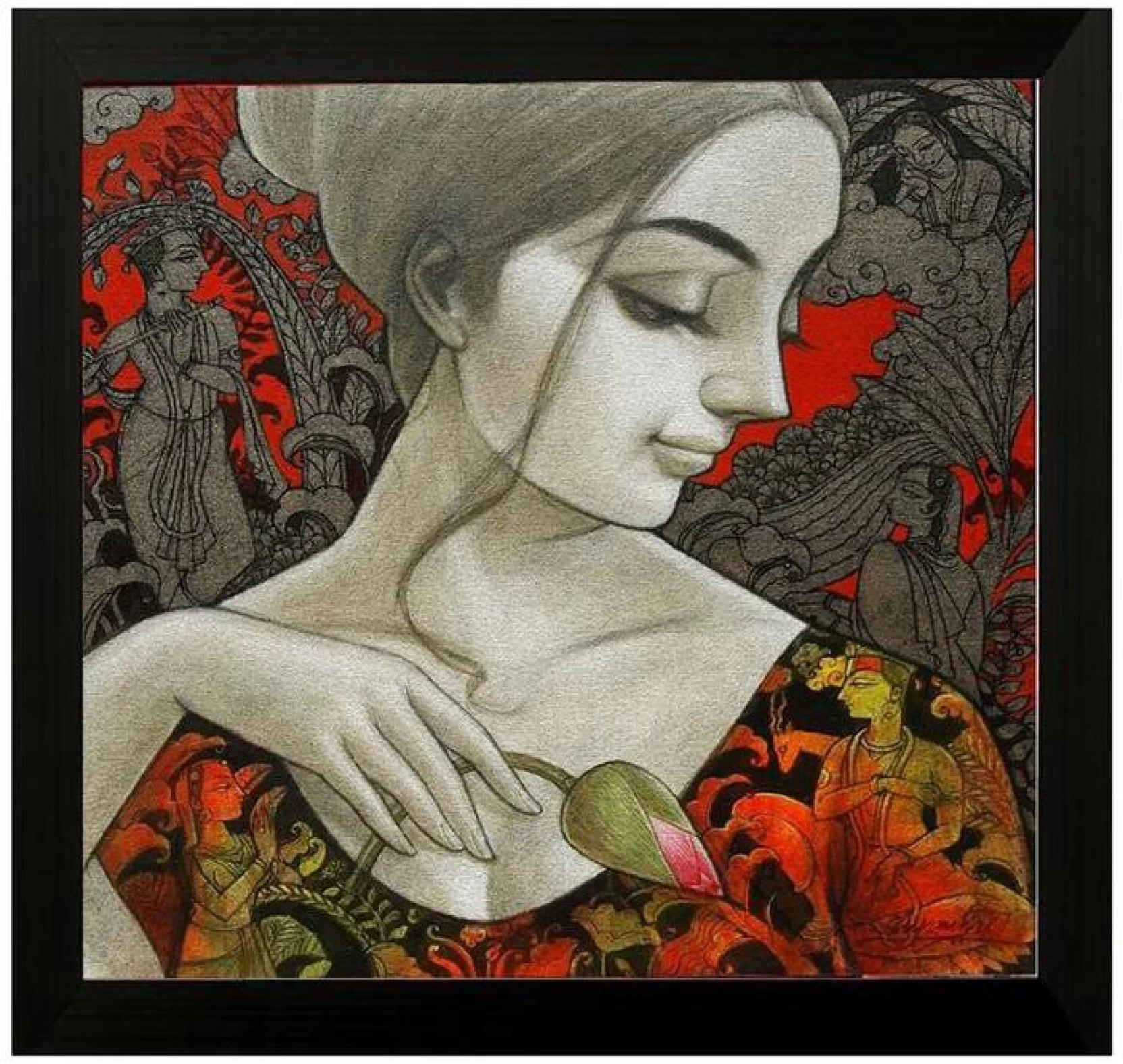 Pinturas Geisha Pintura Lady Figure Ink Painting Price In India Buy Pintura Lady