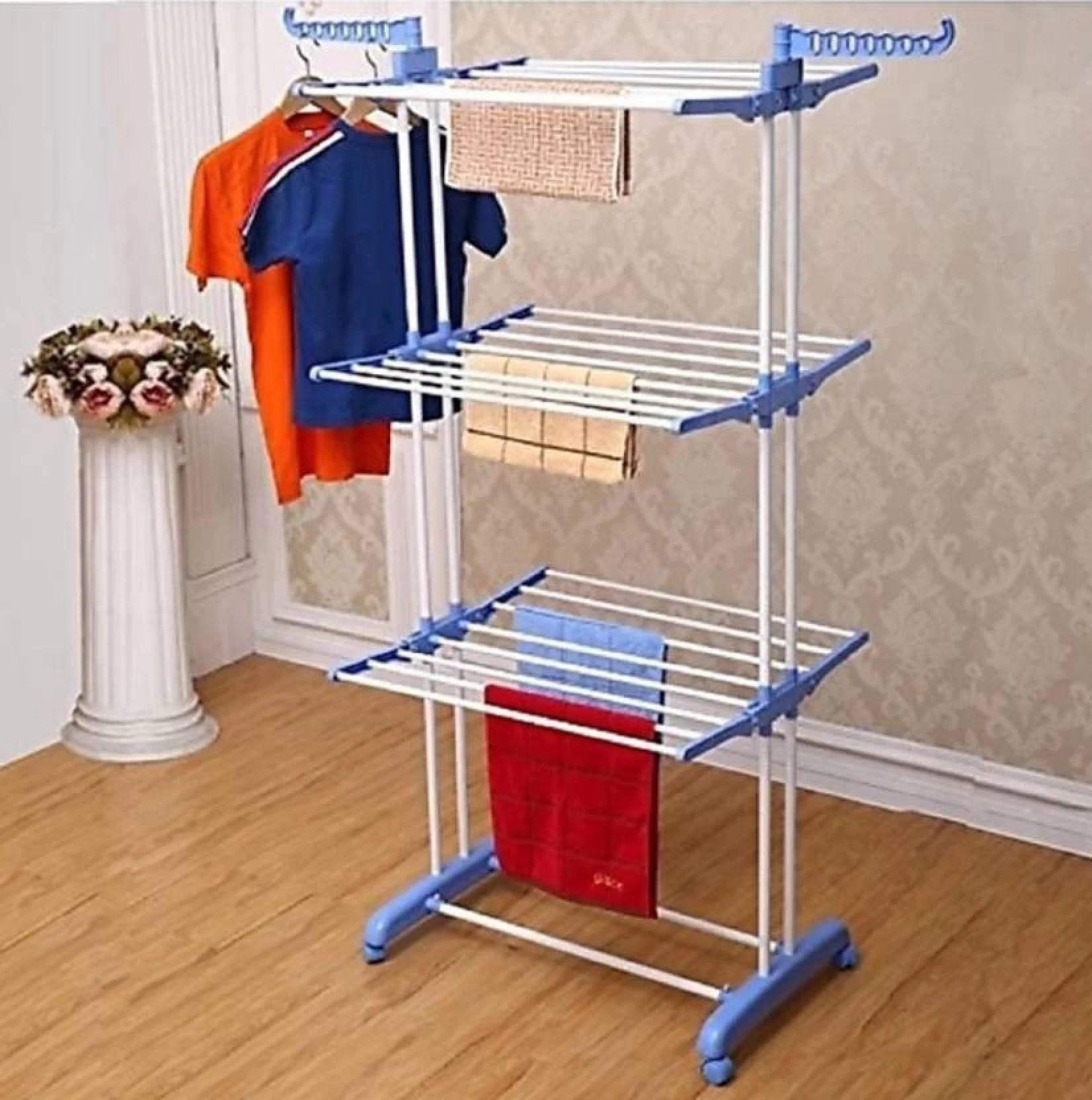Cloth Hanger Stand Best 4u Premium Quality 3 Layer Clothes Rack Hanger Stainless Steel Floor Cloth Dryer Stand