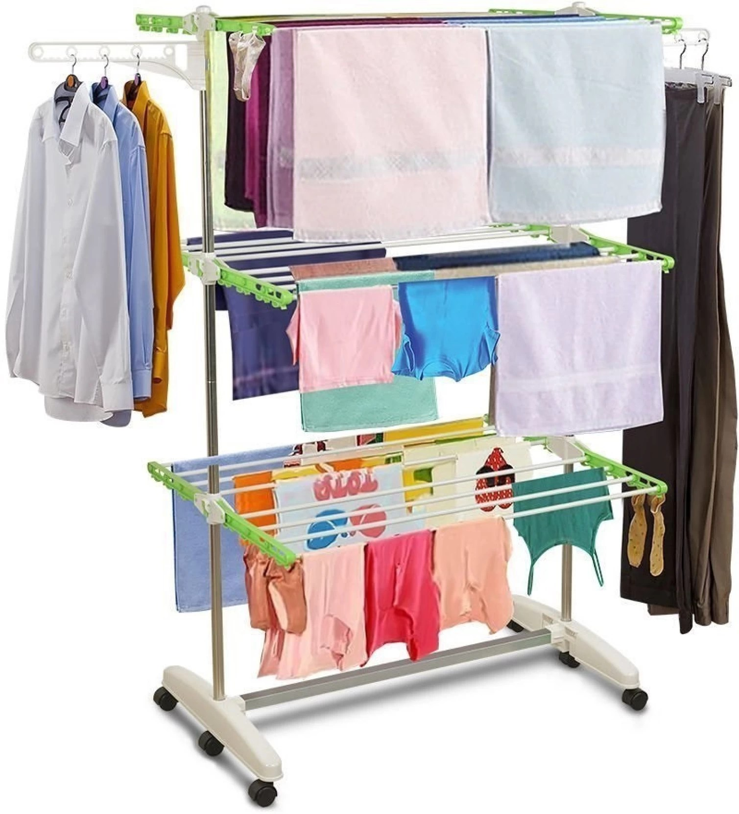 Cloth Hanger Stand Bms Lifestyle Premium Full Size Heavy Duty Folding Cloth Drying Stand Laundry Hanger Rack Stand 10 Washing Zipper Bag Free Stainless Steel