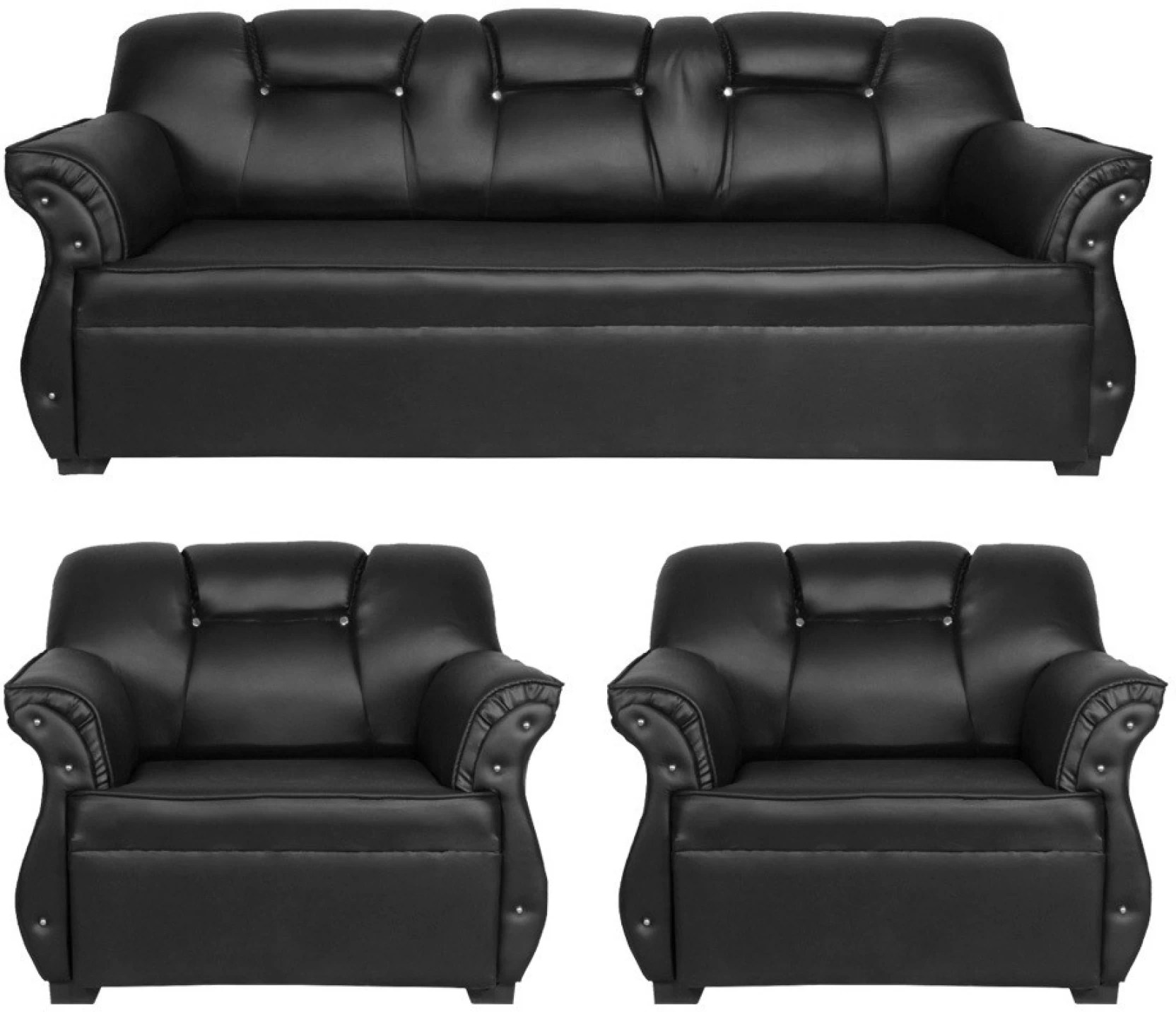 Sofa Set Price Haldwani Homestock Leatherette 3 43 1 43 1 Black Sofa Set Price In