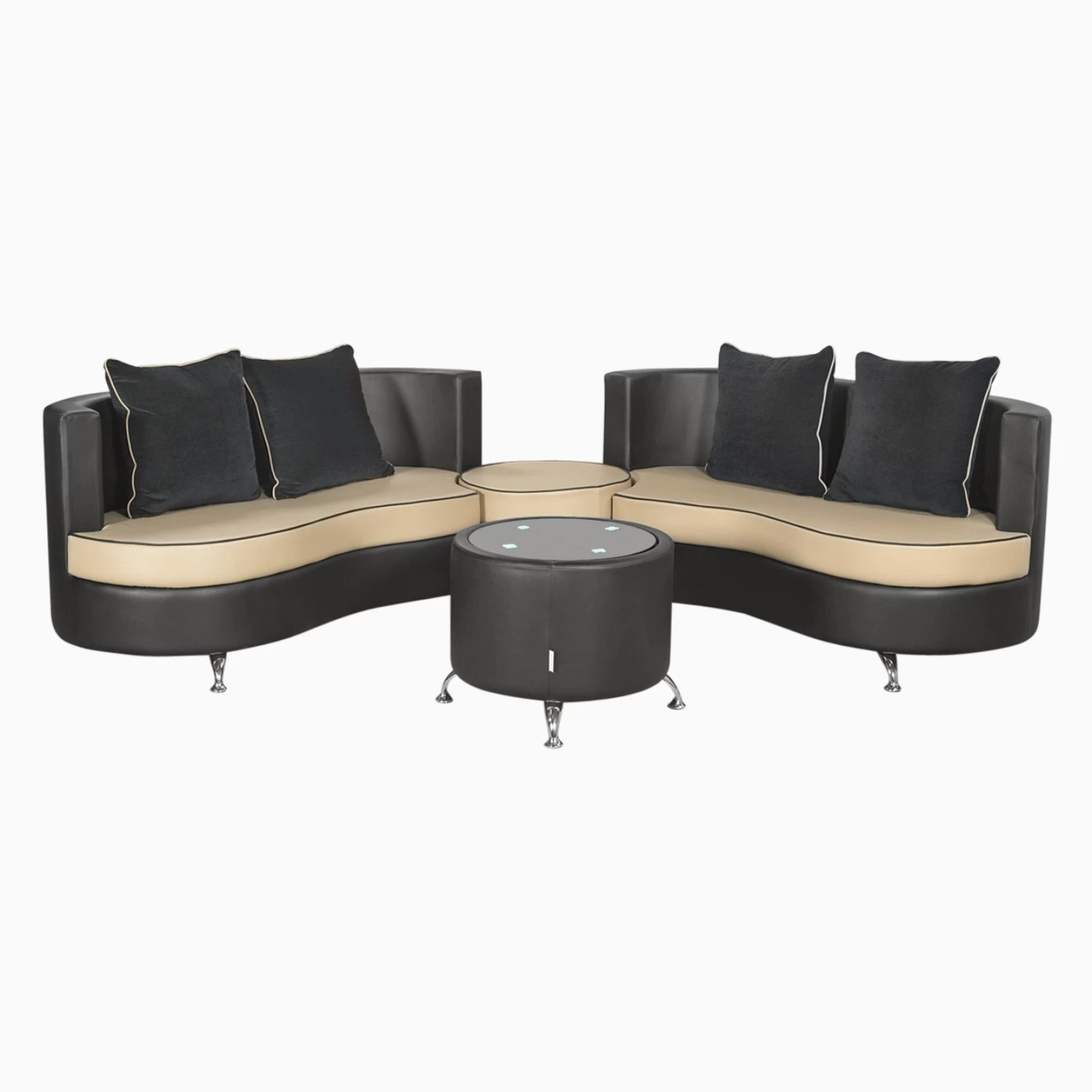 R K Sofa Set Rajkot Gujarat Godrej Interio Athena Plus In S1n Lth Blackb Leatherette 2