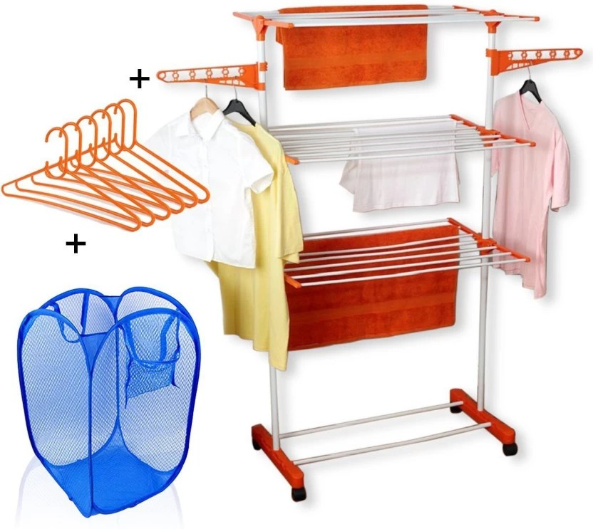 Tnc Cloth Dryer Stand With Laundry Bag And Hangers Carbon