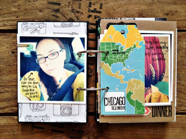 Another cardstock photo. Journaling written directly on the photo with Sakura microperm pen. I used a Studio Calico tag to mark the location on a map.