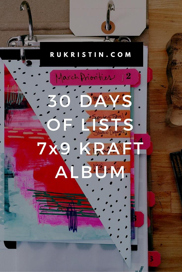 30 Days of Lists Kraft Album