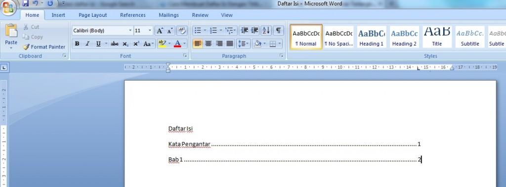 cara membuat daftar isi di ms word 2007 - Gameonlineflash.com