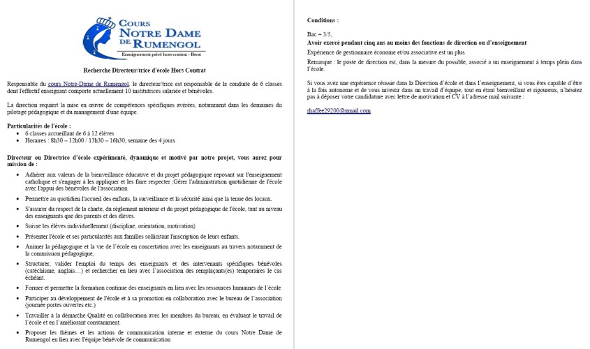 Nous recrutons une directrice