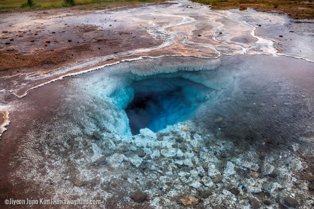 Natural Hot Spring near Geysir in Iceland