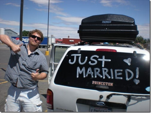 just married car thumb Monica and Maryland