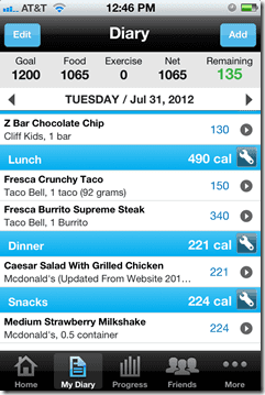 fast food diary thumb Weight Loss Wednesday– Email and Walking