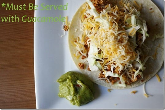serve with guacamole thumb Mexican Meatless Monday– Two Ingredient Taco Recipe