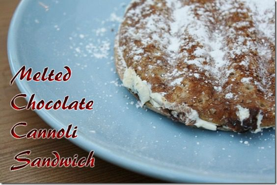 melted chocolate cannoli sandwich recipe thumb Two Sandwich Recipes for National Sandwich Day
