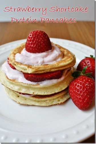 strawberry shortckae protein pancakes recipe thumb Strawberry Shortcake Protein Pancakes