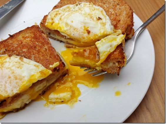 bite of grilled cheese with egg on top 800x600 thumb Grilled Cheese Topped with Egg