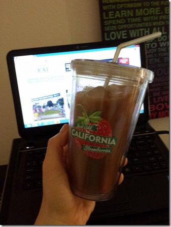 iced coffee in my strawberry cup 600x800 thumb It Is NOT Acceptable to Drink Chocolate Syrup–So don't admit it on the internet