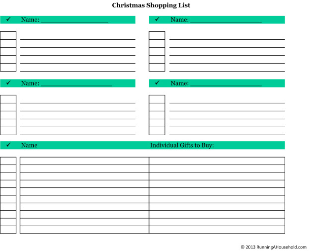 Organization Archives - Running A Household - printable shopping list with categories