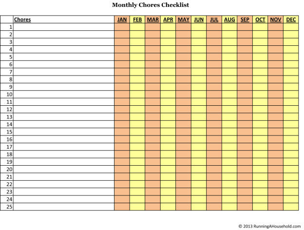 Bi-weekly and Monthly Chores Checklist - Running A Household - weekly checklist