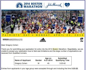 Your 2014 Boston Marathon Application Submission - gregory.d.cohen@gmail.com - Gmail