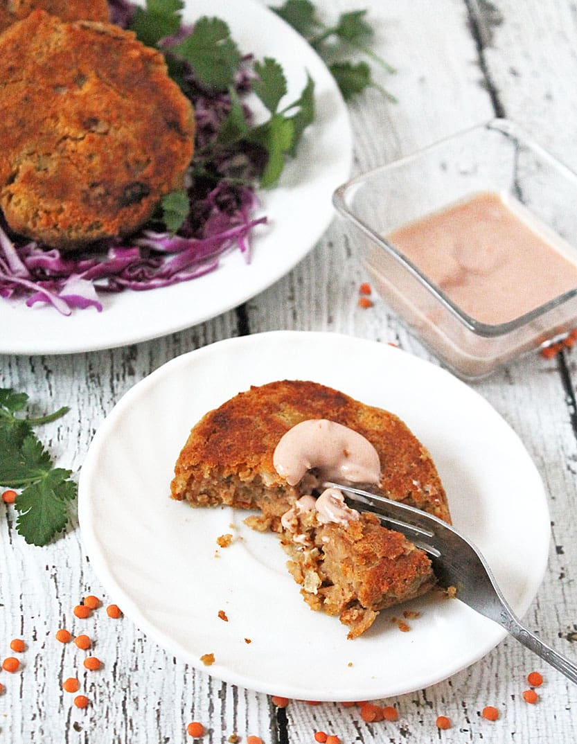 Lentil & Cheese Burgers With Wasabi-Tomato-Yogurt Sauce @RunninSrilankan