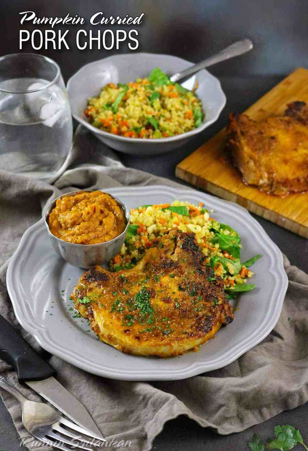 ... Curried Pork Chops with a hint of paprika and caramelized onion