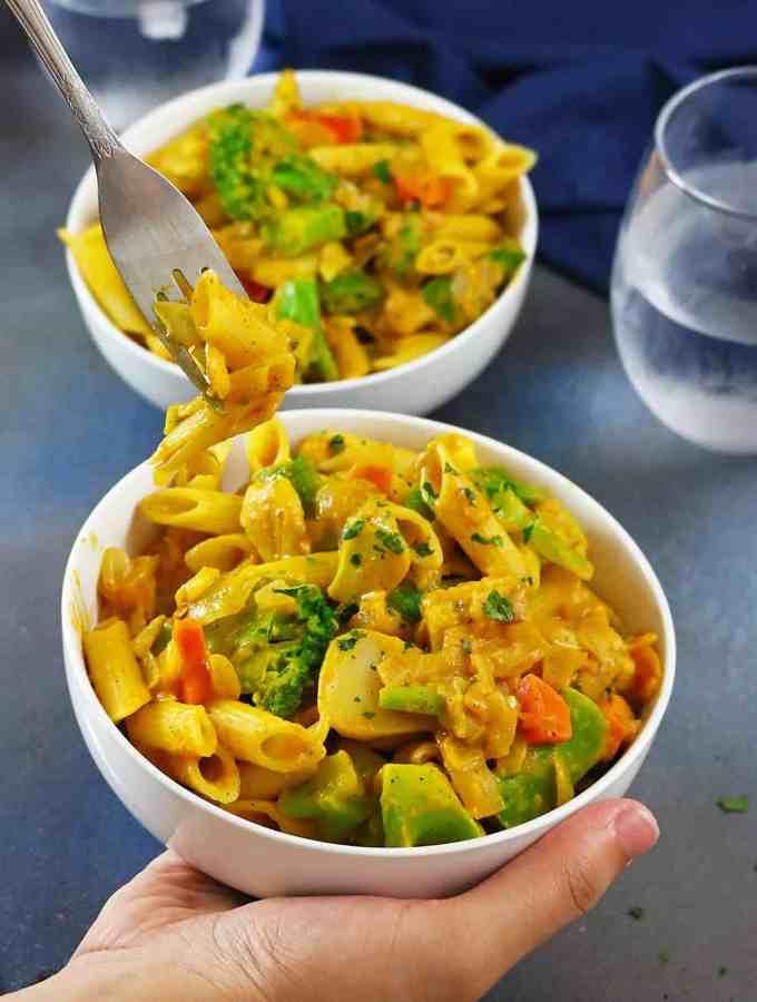 Creamy Coconut Pumpkin Pasta & Veggie Sauté #FamilyPastaTime So Super Quick And Easy - perfect for a chaotic weeknight meal - recipe at RunninSrilankan.com