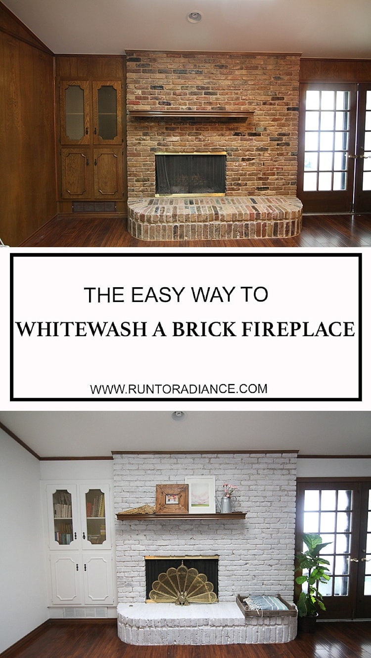 Whitewash Fireplace Before And After Update A Brick Fireplace How To Whitewash Brick The Easy Way