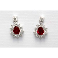Ruby & Diamond Drop Earrings - Russell Lane